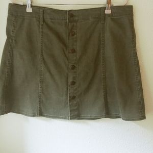 Olive Green Demin Skirt by Mossimo Size 18 Midi